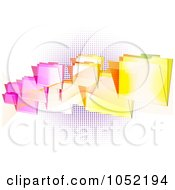 Royalty Free Vector Clip Art Illustration Of A Background Of Colorful Flying Folders Over Purple Halftone