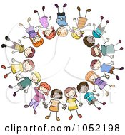 Royalty Free Vector Clip Art Illustration Of A Circle Of Diverse Doodled Kids
