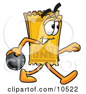 Clipart Picture Of A Yellow Admission Ticket Mascot Cartoon Character Holding A Bowling Ball