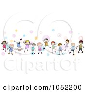 Royalty Free Vector Clip Art Illustration Of A Border Of Doodled Children And Dots by BNP Design Studio #COLLC1052200-0148