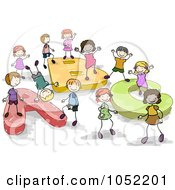 Royalty Free Vector Clip Art Illustration Of Doodled Kids Playing On ABC