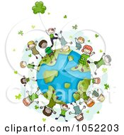 Royalty Free Vector Clip Art Illustration Of Doodled St Patricks Kids With Clovers On A Globe