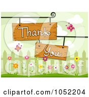 Royalty Free Vector Clip Art Illustration Of Wooden Thank You Sign Boards By A Fence With Flowers