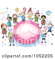 Royalty Free Vector Clip Art Illustration Of Doodled Kids Around A Giant Birthday Cake