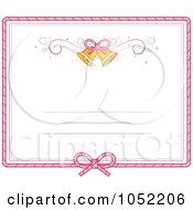 Royalty Free Vector Clip Art Illustration Of A Pink Border And Bells On A Wedding Invitation