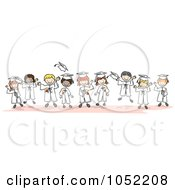 Royalty Free Vector Clip Art Illustration Of A Border Of Doodle Kid Graduates