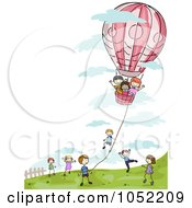 Royalty Free Vector Clip Art Illustration Of A Doodled Kids Playing With A Hot Air Balloon