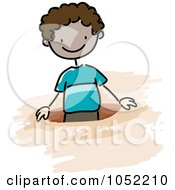 Royalty Free Vector Clip Art Illustration Of A Doodled Black Boy In A Hole