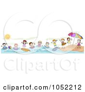 Royalty Free Vector Clip Art Illustration Of A Border Of Summer Doodled Kids At The Beach by BNP Design Studio