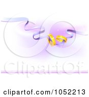Royalty Free Vector Clip Art Illustration Of Golden Wedding Bands On A Purple Ribbon by BNP Design Studio