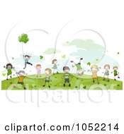 Royalty Free Vector Clip Art Illustration Of Energetic Doodled St Patricks Day Kids Playing