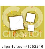 Royalty Free Vector Clip Art Illustration Of Three Frames With Leaves On Green