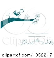Royalty Free Vector Clip Art Illustration Of An Invitation Design Of A Bird On A Branch by BNP Design Studio