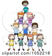 Royalty Free Vector Clip Art Illustration Of A Doodled Pyramid Of Kids
