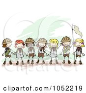 Royalty Free Vector Clip Art Illustration Of A Border Of Doodled Girl Scouts by BNP Design Studio #COLLC1052219-0148