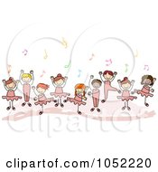 Royalty Free Vector Clip Art Illustration Of A Doodled Border Of Ballet Kids