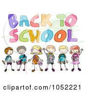 Royalty Free Vector Clip Art Illustration Of Doodled Back To School Text With Kids