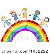 Royalty Free Vector Clip Art Illustration Of Doodled Kids On A Rainbow