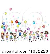 Royalty Free Vector Clip Art Illustration Of A Group Of Party Kids With Balloons