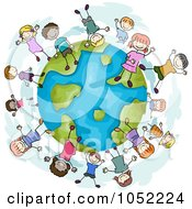 Royalty Free Vector Clip Art Illustration Of A Doodled Globe With Diverse Children