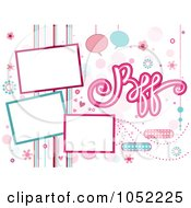 Royalty Free Vector Clip Art Illustration Of A Bff Background With Three Frames