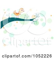 Royalty Free Vector Clip Art Illustration Of An Invitation Of A Yellow Bird On A Branch by BNP Design Studio