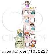 Royalty Free Vector Clip Art Illustration Of A Doodled Building With Happy Kids