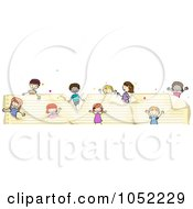 Royalty Free Vector Clip Art Illustration Of A Border Of Doodled Kids On Ruled Paper