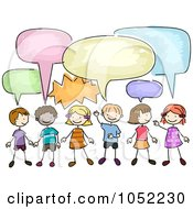 Royalty Free Vector Clip Art Illustration Of Doodled Children With Chat Bubbles