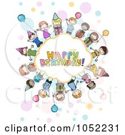 Royalty Free Vector Clip Art Illustration Of Doodled Children Around A Happy Birthday Cloud