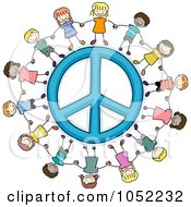 Royalty Free Vector Clip Art Illustration Of Doodled Kids Holding Hands Around A Peace Symbol