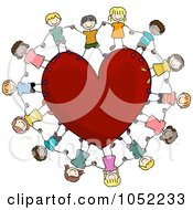 Doodled Kids Holding Hands Around A Heart