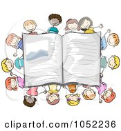 Royalty Free Vector Clip Art Illustration Of Doodled Students Around An Open Book