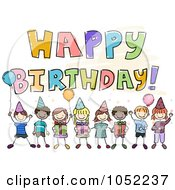 Royalty Free Vector Clip Art Illustration Of A Happy Birthday Greeting With Doodle Kids