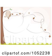Royalty Free Vector Clip Art Illustration Of Bees Buzzing Around A Hive On A Tree by BNP Design Studio