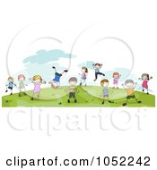 Royalty Free Vector Clip Art Illustration Of Doodled Children Playing On A Hill Outdoors