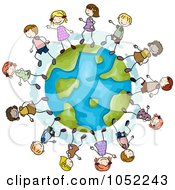 Royalty Free Vector Clip Art Illustration Of Doodled Kids Playing On A Globe