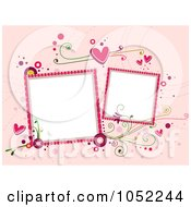 Royalty Free Vector Clip Art Illustration Of A Valentines Day Background With Two Blank Frames On Pink