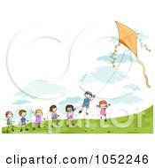 Royalty Free Vector Clip Art Illustration Of Doodled Children Playing With A Kite