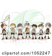 Royalty Free Vector Clip Art Illustration Of Doodled Boy Scouts Holding A Flag