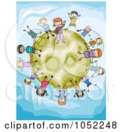 Royalty Free Vector Clip Art Illustration Of Doodled Kids On A Green Moon
