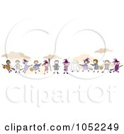 Royalty Free Vector Clip Art Illustration Of A Border Of Stick Halloween Children