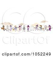 Royalty Free Vector Clip Art Illustration Of A Border Of Stick Halloween Children by BNP Design Studio