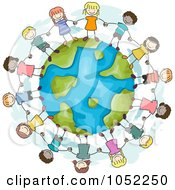 Royalty Free Vector Clip Art Illustration Of Doodled Stick Kids Holding Hands On Earth