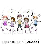 Royalty Free Vector Clip Art Illustration Of Doodled Children Dancing To Music