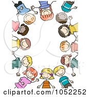 Royalty Free Vector Clip Art Illustration Of A Border Of Doodled Kids