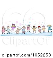 Border Of Doodled Winter Kids