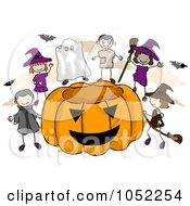 Royalty Free Vector Clip Art Illustration Of Doodled Halloween Kids With A Giant Pumpkin