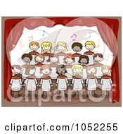 Royalty Free Vector Clip Art Illustration Of Doodled Kids Singing In A School Choir