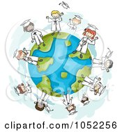 Royalty Free Vector Clip Art Illustration Of Doodled Graduate Kids On A Globe